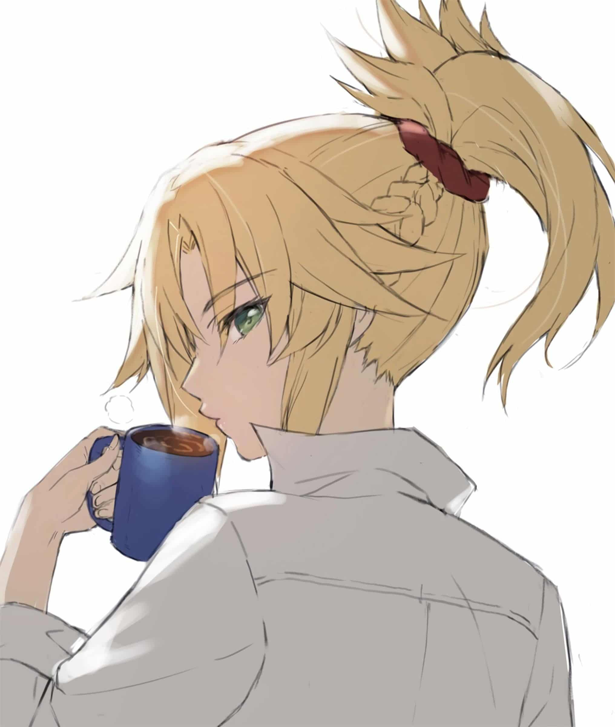 Mordred having her morning coffee