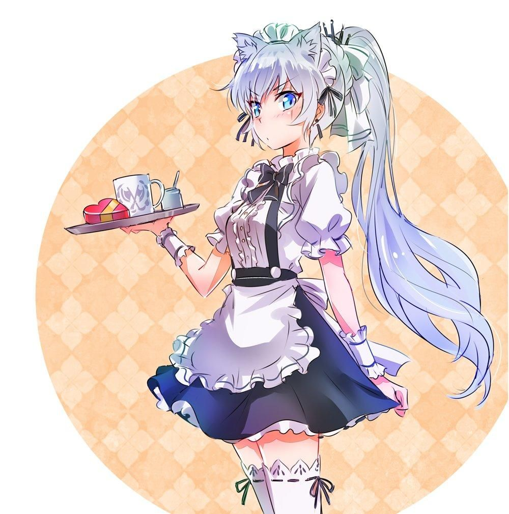 Weiss as a cat faunus and a Maid waitress