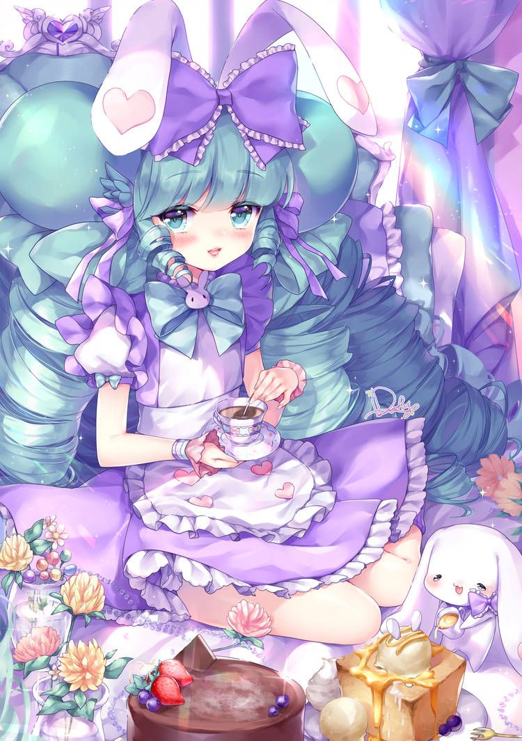 anime purple cute girl
