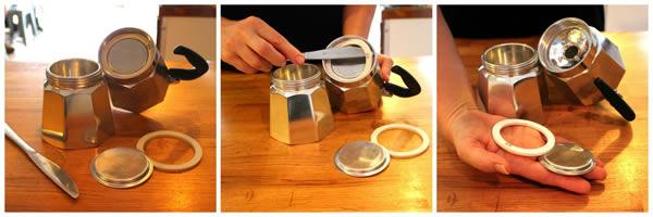 remove moka pot gasget